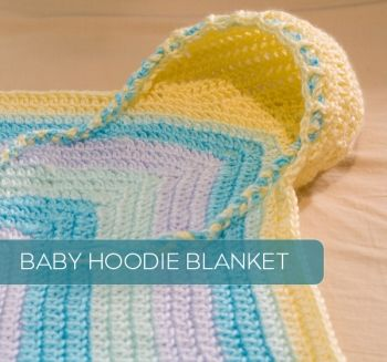 Giant list of crochet patterns, including this Crochet Baby Hoodie Blanket!