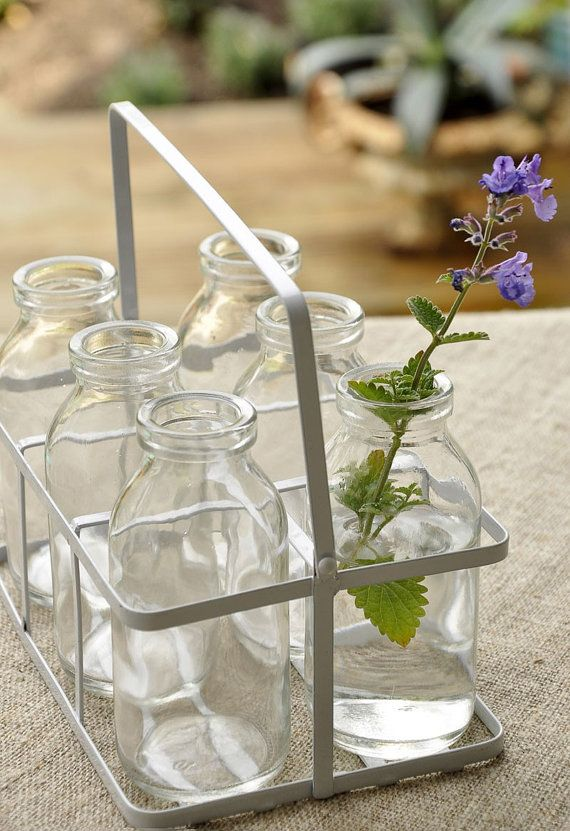 Set of 6 Glass Milk Bottles in a Crate Mini by myvintageteaparty