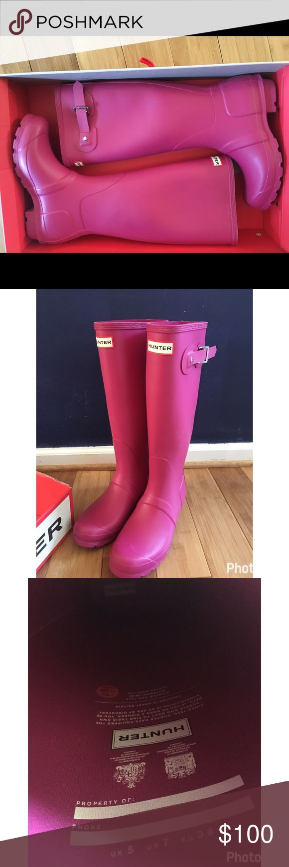 Hunter rain boots ☔️ April rain ☔️ brings May flowers 🌺 ! Put these on so you can dance in the rain!! This matte hot pink hunter boots are so cool! I never wore them, and they don't have any residue. Hunter Boots Shoes Winter & Rain Boots