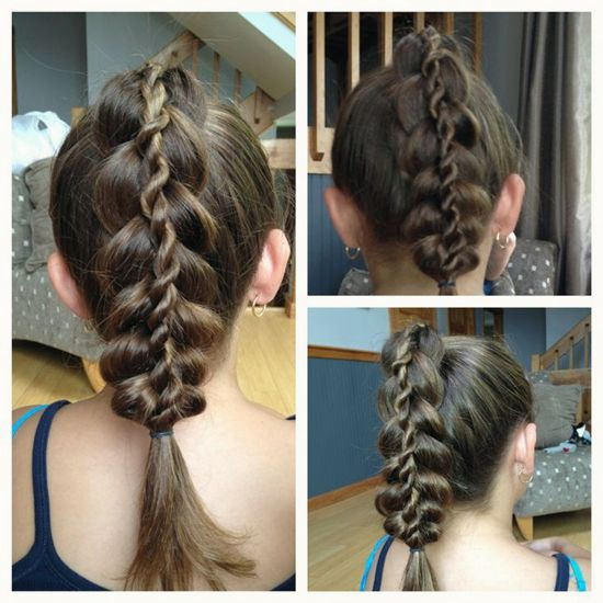 rope and braided ponytail hairstyle with clip on brown hair extension