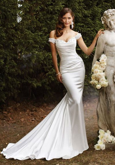 Trumpet Satin Off The Shoulder Natural Waist Chapel Train Wedding Dress Old Hollywood Hair