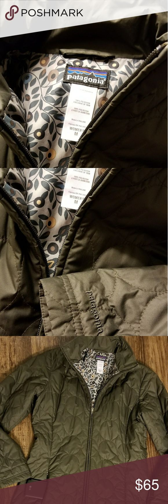 Patagonia Woman's Long Coat Size medium Olive Green Parka length & lightweight  Vintage coat with secret inner pocket & beautiful lining.   Circle quilt pattern & super soft to touch Appears new with no apparent sign of wear Patagonia Jackets & Coats Puffers