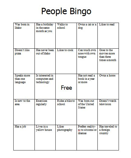 Chapter 3 Putting Ideas Into Your Own Words And: People Bingo -- Adapt With Similar Non-threatening And Non