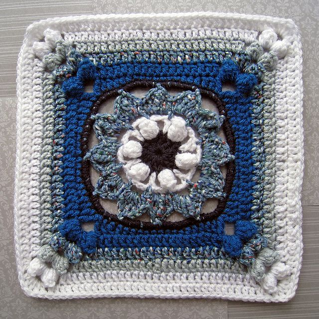 """Blooming Beauty 12"""" Square.: Crochet Granny Squares, Color, Squares Octagons Hexagons, Squares Granny, Afghans Squares, Crochet Squares Motif, Flower Squares, Squares 12X12"""