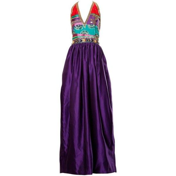 Preowned 1970s Silk Satin Evening Gown With Beaded + Sequin Plunging... ($650) ❤ liked on Polyvore featuring dresses, gowns, multiple, sequin evening gowns, purple dress, beaded dress, beaded evening gowns and open back gown