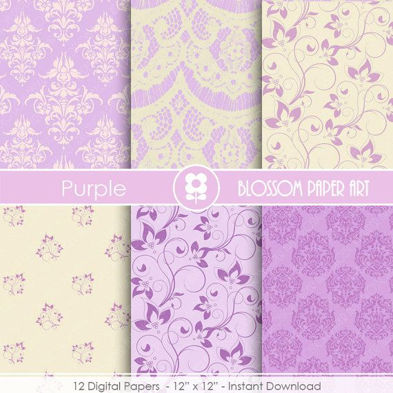 Purple Digital Paper Wedding Paper Pack Violet Damask