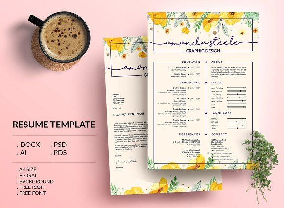 Floral CV / Resume Template /N @Graphicsauthor