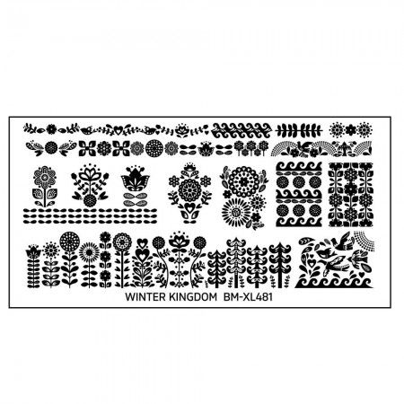 Winter Kingdom Nail Art Polish Stamping Plate - Folk + Floral