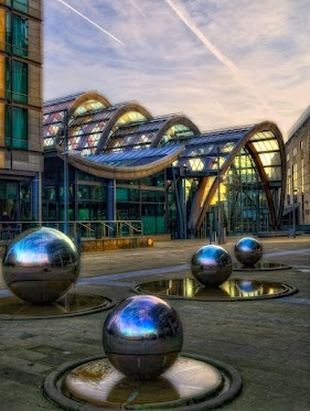 Sunrise at the Winter Gardens in Sheffield, UK. Study abroad here at our University of Sheffield Exchange!