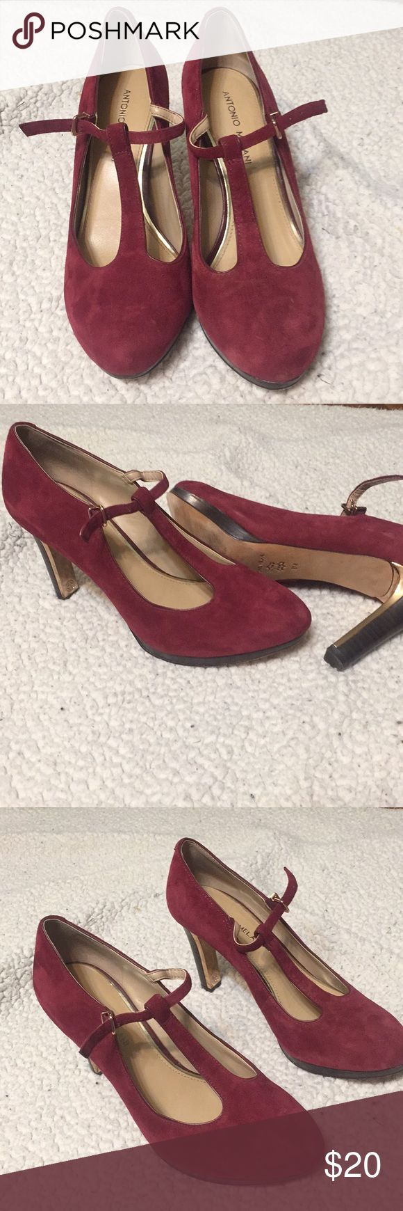 Antonio melani t strap suede leather heels Antonio melani burgundy suede leather heels. Size 8. Worn once. Cute wood and gold heel detail. Very comfortable heels. T strap. ANTONIO MELANI Shoes Heels