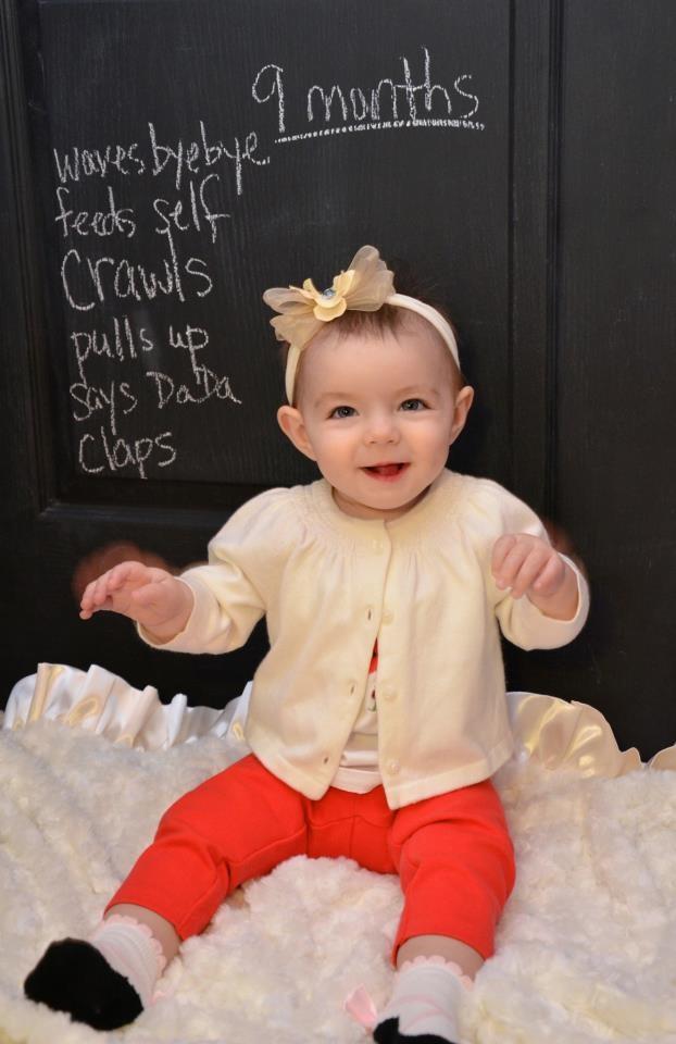 9 months photo idea - chalkboard with skills, milestones, stats