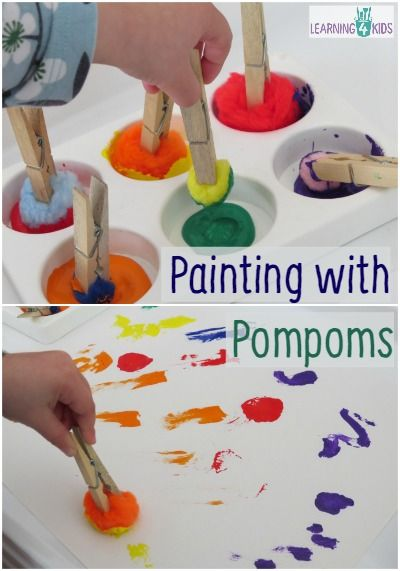 Love that this uses pegs for  fingers to strengthen. Use one peg so they have to use fine motor to grip pompom. Painting with Pompoms