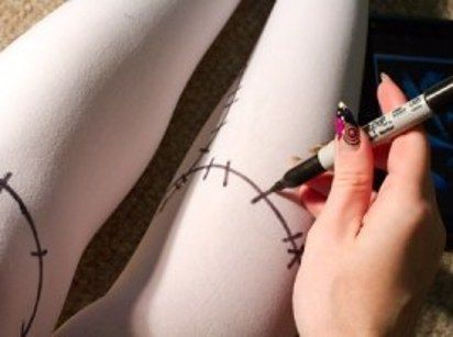 Draw on white stockings to channel Sally from Nightmare Before Christmas. | 51 Cheap And Easy Last-Minute Halloween Costumes