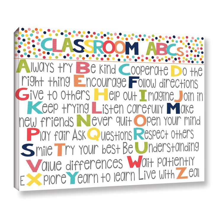 Alli Rogosich's 'Classroom Rules' Gallery Wrapped Canvas is a gorgeous reproduction featuring the rules of a classroom against a white background. A wonderful pice that will compliment any childrens r