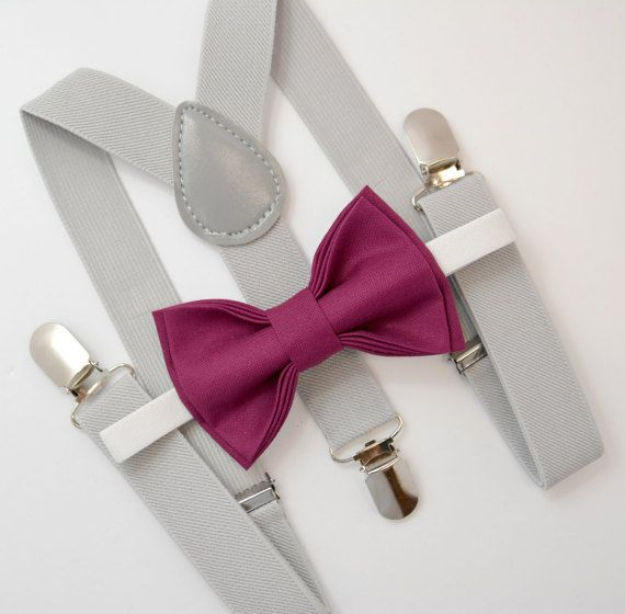 Bow Tie & Suspenders SET / Maroon Bow Tie / Light by BowTieLoveINC