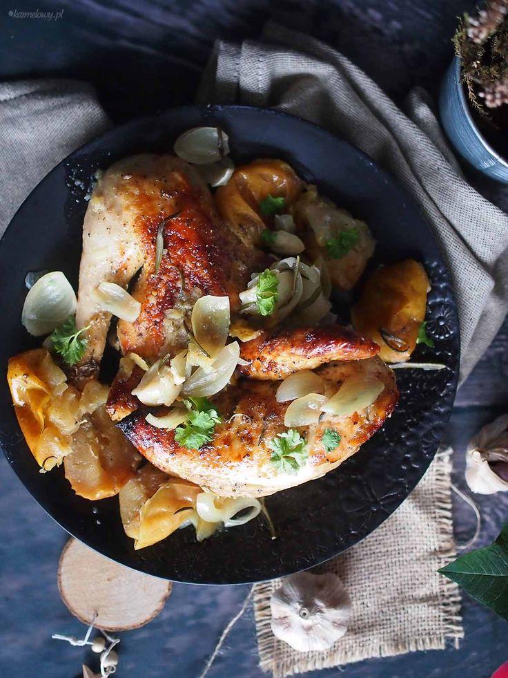 Kurczak pieczony z jabłkami / Roasted chicken with apples