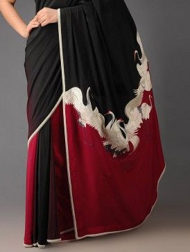 Red-Black Crane Crepe Silk Parsi Gara Saree