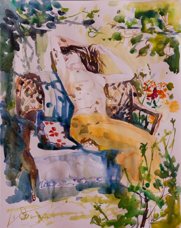 In the garden, aquarelle, watercolor, feminine, woman, sunbathing, fresh