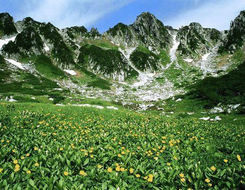 2600M超の天空のお花畑…長野県の千畳敷カール!  荒々しい岩峰の直下には、氷河によって削り出されたなだらかな土地が広がり、夏にはお花畑が出現します。清らかな水鏡をたたえた池もあり、遠く南アルプスを望む絶景も楽しめ、まさにそこは天空の別天地です!