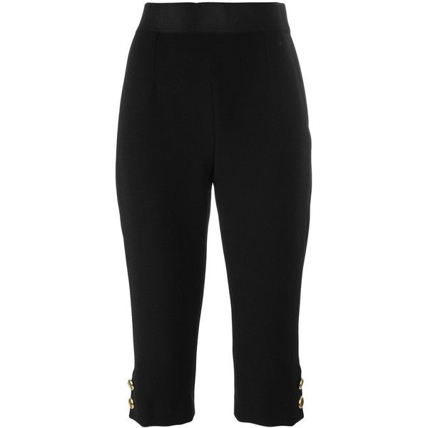 Dolce & Gabbana Capri Trousers ($845) ❤ liked on Polyvore featuring pants, capris, black, slim fit trousers, slim trousers, capri pants, dolce gabbana pants and cropped capri pants