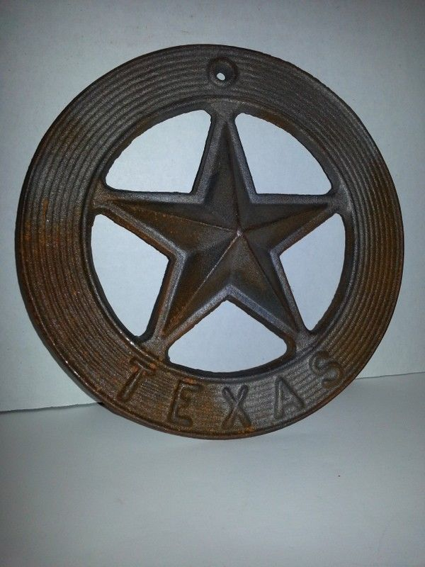 TEXAS RUSTIC HEAVY ROUND CUT OUT STAR MEDALLION, WESTERN, RODEO