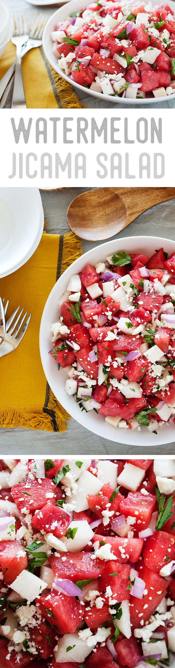 This refreshing summer salad boasts a wonderful mixture of tender and crunchy textures. Using fresh watermelon, jicama and herbs give the salad the most refreshing taste. Pro tip: For the best flavor, keep the ingredients chilled and toss everything together just before serving.