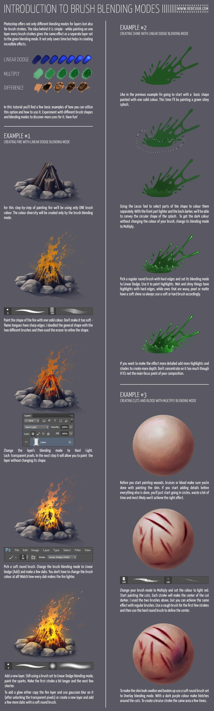 Brush blending modes - tutorial by vesner on deviantART via PinCG.com