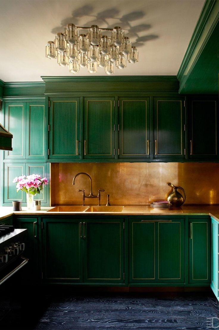 Green and gold - its not just for the Olympic team. We love this combination of kelly green and warm gold in Cameron Diaz's LA kitchen. Photo courtesy of William Abranowicz/Elle Decor.