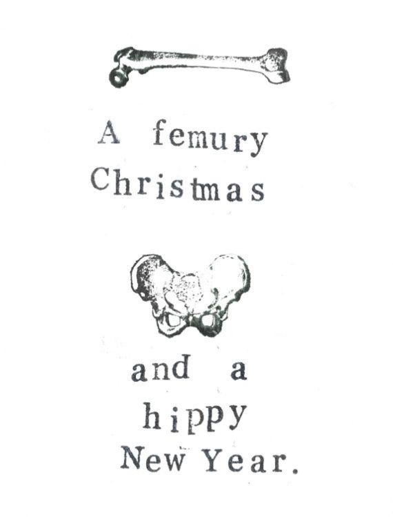 A Femury Christmas And Hippy New Year Card | Skeleton Pun Anatomy Science Medical Humor Happy Holidays Nerdy Gothic Atheist Geekery Doctor