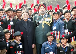 The Lazium display of 2004 cadets of National Cadet Corps (NCC) at the DGNCC Camp, New Delhi enthralls to Vice President of India Mohammad Hamid Ansari, who inaugurated the NCC's Republic Day Camp 2013 on Monday.