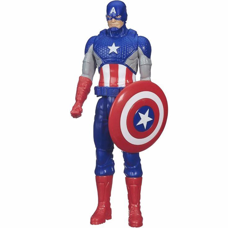 Os Vingadores estão em mais uma missão para salvar o mundo e o corajoso Capitão América vai usar toda sua força para ajudar nesta épica batalha.     Conheça o incrível Boneco Avengers Titan Hero Capitão América da Hasbro, uma figura incrível, desenvolvida com material de alta qualidade, com detalhes riquíssimos que vão conquistar a garotada.     Acompanha o seu tradicional escudo e permite movimentos de braços e pernas.