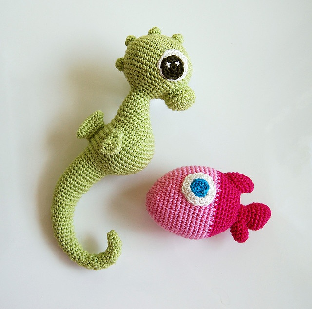 Crochet fish and seahorse