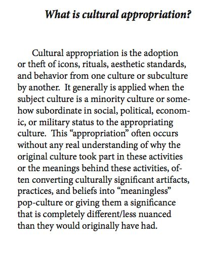 What is Cultural Appropriation? I'm sure many of my followers can think of a zillion examples...the fashion industry is probably the most guilty...