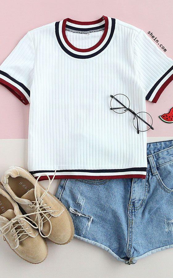 White Striped Trim Ribbed T-shirt