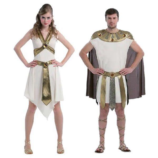 DisfracesMimo, disfraz de pareja de romanos hombre y mujer.Estos disfraces son perfectos para trasladarte a la antigua Roma o para convertirte en una auténtica Diosa del Olimpo Griego en Fiestas de Disfraces Temáticas o Carnaval.Este disfraz es ideal para tus fiestas temáticas de disfraces romanos y egipcios para parejas de hombre y mujer.