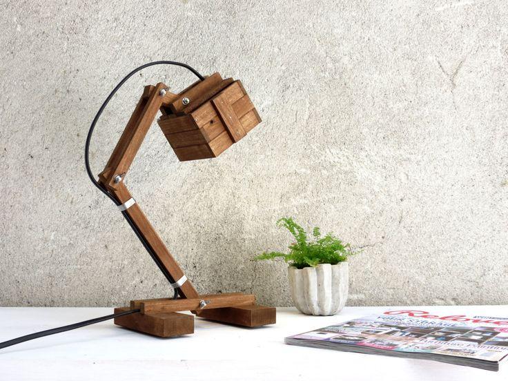Vintage Office Wooden DIY LED Desk Lamp