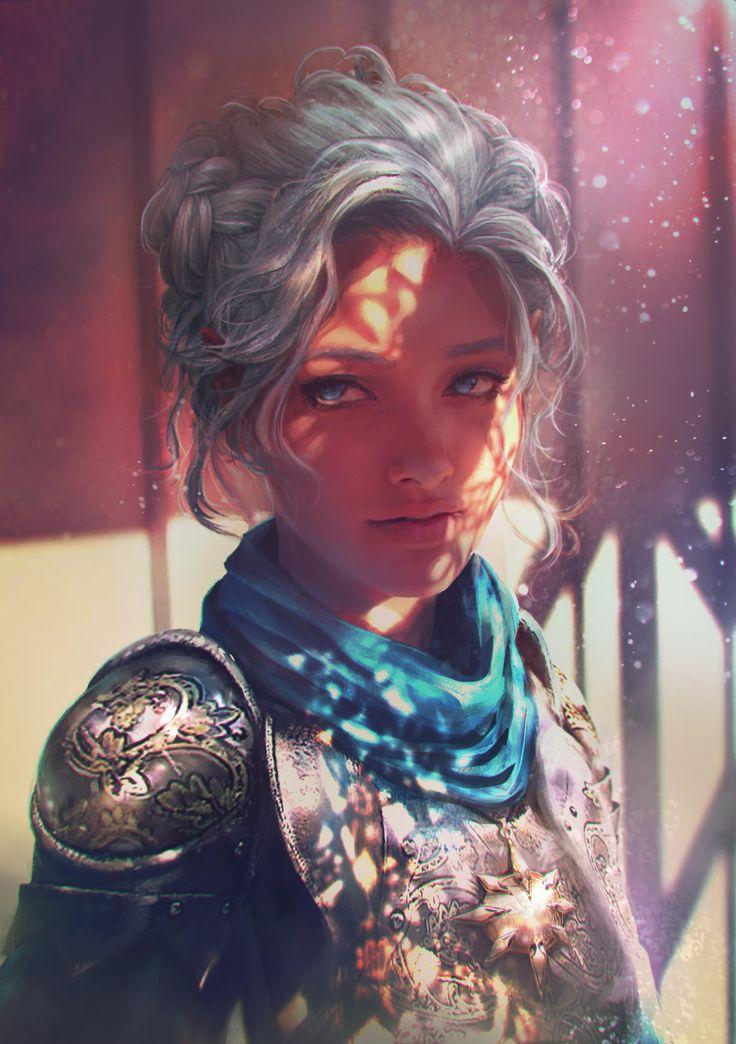 Humana; caucásica; joven adulta; pelo gris, ondulado, trenzado; ojos azules; guerrera.
