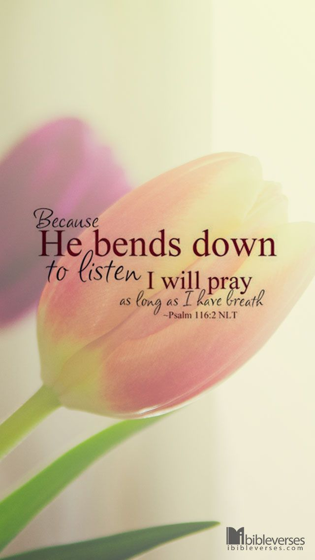 Because He bends down to listen, I will pray as long as I have breath. Psalm 116:1-2