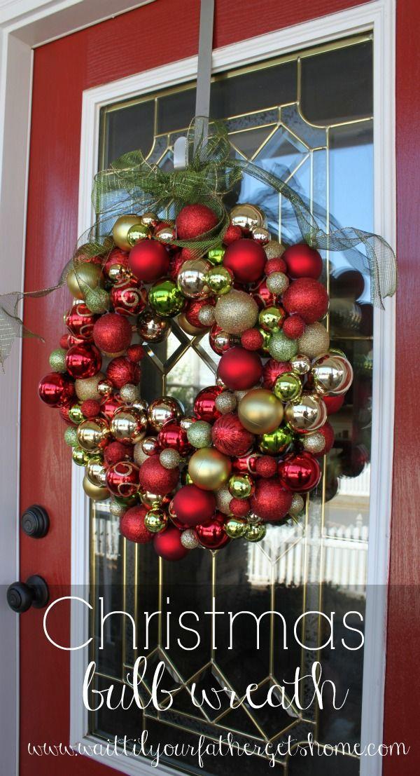 DIY your #Christmas #wreath this year and make a Christmas #bulb wreath using shatterproof bulbs via www.waittilyourfathergetshome.com #FloraCraft