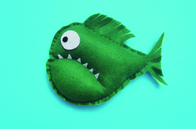 Spotlight asked me to create a simple piranha softie kids can sew for Aaron Blabey's kid's book Piranhas Don't Eat Bananas.