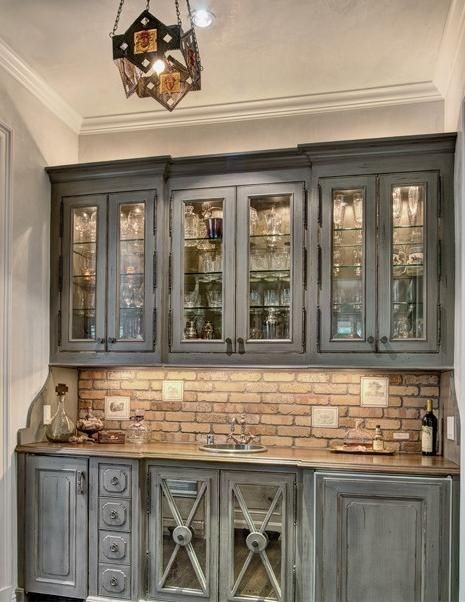 get the look the inexpensive way with faux brick wallpaper - Faux Kitchen Cabinets