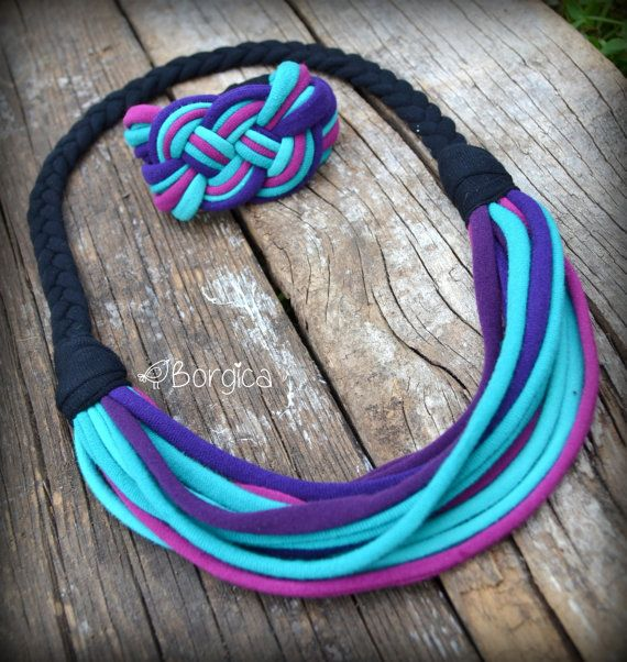 This fabric strand scarf-necklace is so colorful and perfect for theautumn! This is a original designer fashion accessories.    Made from 100% recycled