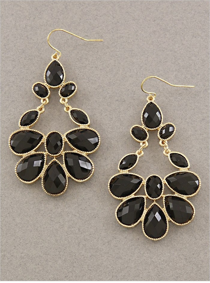 "Gold and Black Gem Stone Tear Drop Dangle Earrings  - 2 1/4"" Long  - Quantity: 1  - Item CCI   $15.00 pinned with Pinvolve"