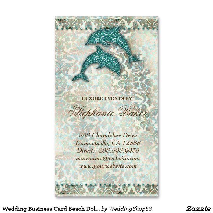 Wedding Business Card Beach Dolphin Vintage