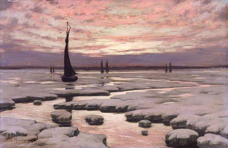 L. Birge Harrison (1854-1929), Winter Sunset - 1890 Живопись маслом