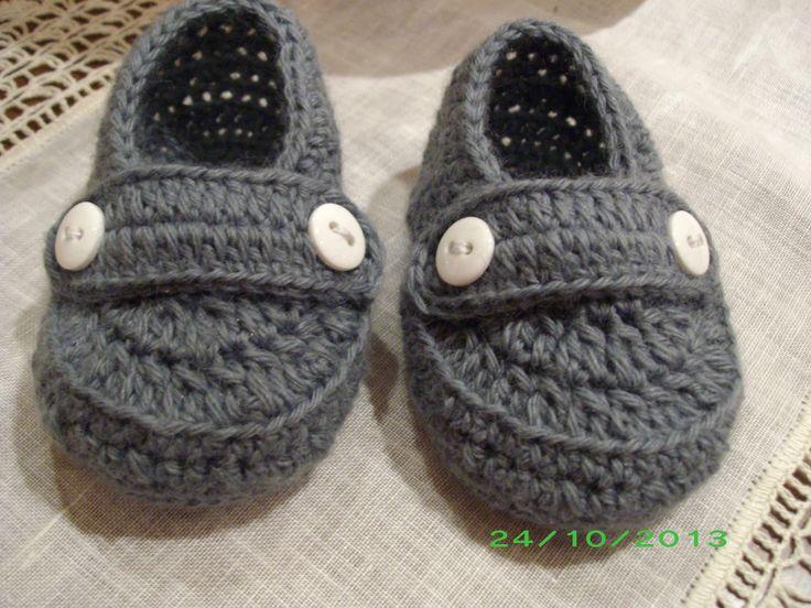 scarpine mocassino baby in lana all'uncinetto euro 15.00