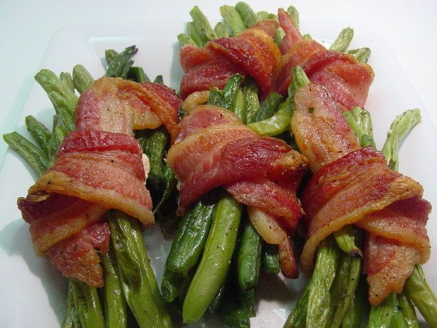 This recipe is from Paula Deens show on Food TV.  It looked like the perfect thing for Christmas dinner.  It worked out great because I was able to blanch and bundle them and have them all ready to pop in the oven in advance.  They looked as yummy as they were.  Highly recommended!
