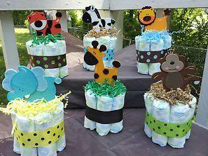 Jungle Safari theme diaper cakes mini baby shower centerpiece!