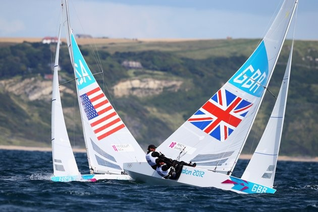 Day Three - WEYMOUTH, ENGLAND - JULY 30: Iain Percy and Andrew Simpson of Great Britain compete in the Men's Star Sailing on Day 3 of the London 2012 Olympic Games at Weymouth Harbour on July 30, 2012 in Weymouth, England. (Photo by Clive Mason/Getty Images)