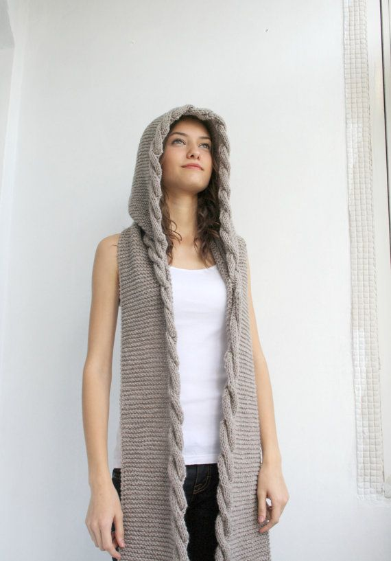 Milky Brown Wool Hooded Cabled Long Scarf Cowl Christmas gift Under USD100